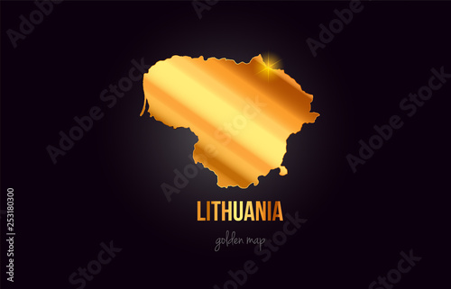 Photo Lithuania country border map in gold golden metal color design