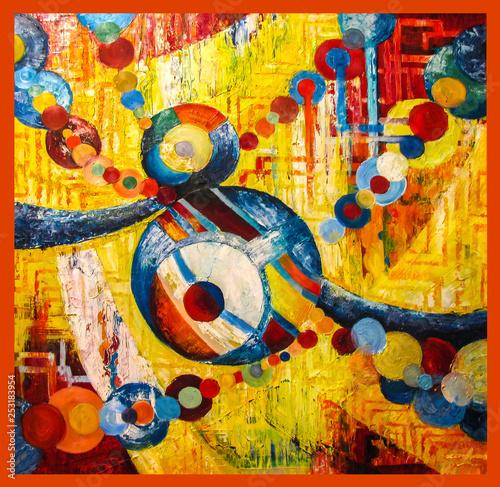 Obrazy abstrakcyjne  obraz-olejny-fantazja-abstrakcja-stworzona-z-kolorowych-balonow-na-zoltym-tle