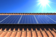 Solar Panels Modules On Roof