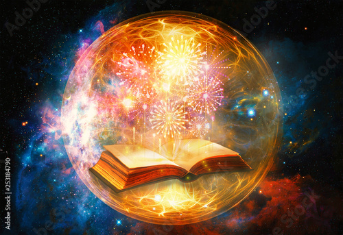 Obraz Artistic 3d Computer Generated Illustration Of A Colorful Fireworks Coming Out Of An Ancient Magical Book In An Energetic Field Artwork - fototapety do salonu