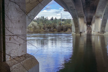 Underneath A Bridge Over River, Surrounded By Lush Forest In Folsom, California Hiking Trail