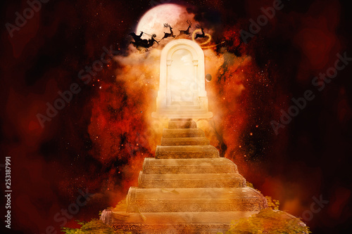 Abstract Colorful 3d Rendering Illustration Of Another Dimensional Heaven's Gate Poster Mural XXL
