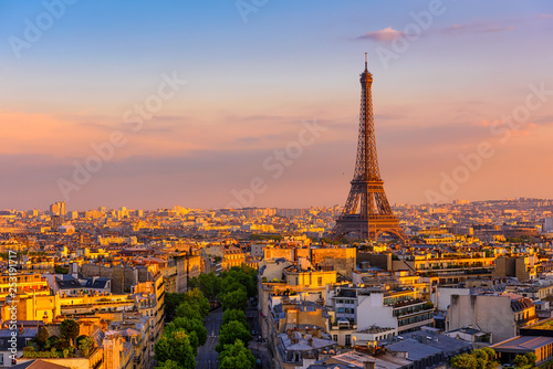 Poster Paris Skyline of Paris with Eiffel Tower in Paris, France. Panoramic sunset view of Paris