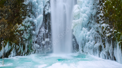 Aluminium Prints Forest river Icy Blue Frozen Waterfall in Oregon USA