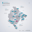 Montenegro vector map with infographic elements, pointer marks.