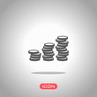 Coins stack, finance grow. Icon under spotlight. Gray background