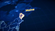 US Maine State Border 3D Visualization Modern Map Outline Travel