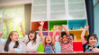 canvas print picture - Group of multi-ethnic five little kids children African American, asian and Caucasian happiness together with friend to draw colour pencil to full colour of picture in living room or class room