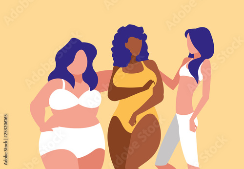 Fotomural women of different sizes and races modeling underwear