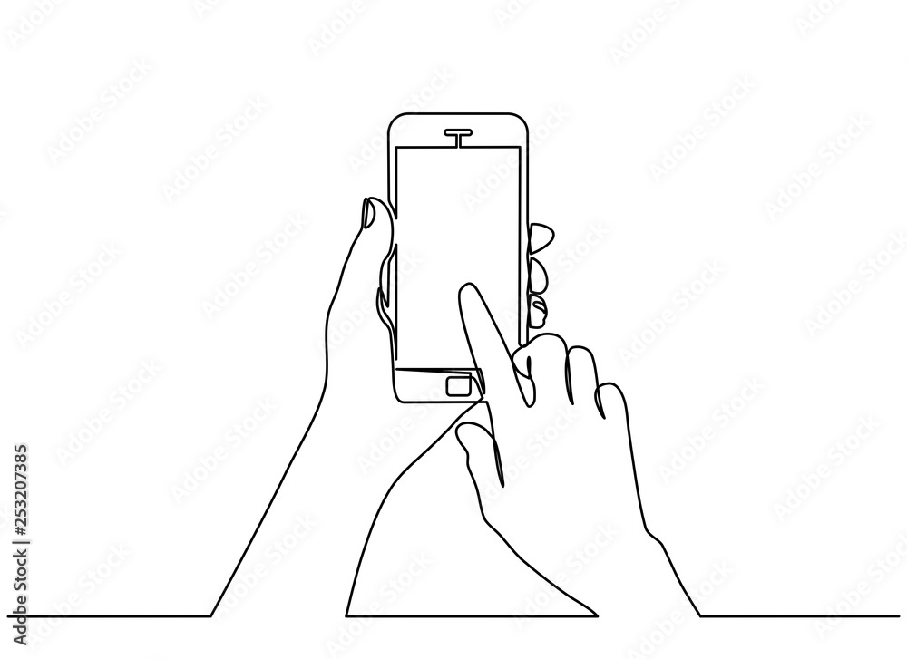 Fototapeta continuous line drawing of  hand typing on mobile phone isolated on white background. hand holding a modern smartphone and pointing with finger.
