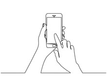 Continuous Line Drawing Of  Hand Typing On Mobile Phone Isolated On White Background. Hand Holding A Modern Smartphone And Pointing With Finger.