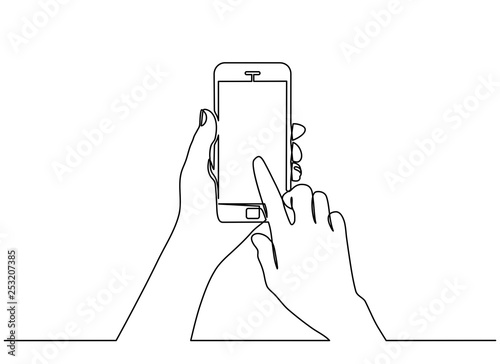 Obraz continuous line drawing of  hand typing on mobile phone isolated on white background. hand holding a modern smartphone and pointing with finger.  - fototapety do salonu