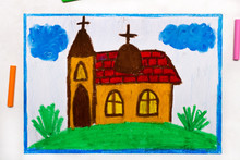 Colorful Drawing: A Small Church With A Tower On The Hill