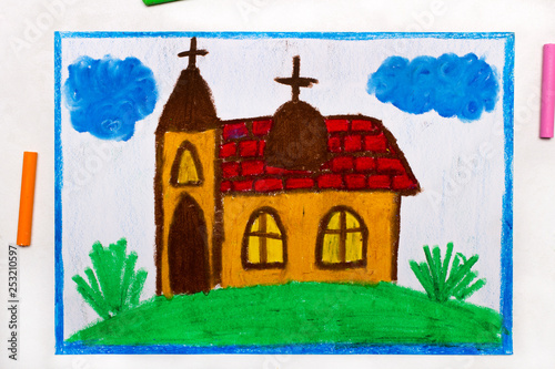 Valokuva Colorful drawing: A small church with a tower on the hill
