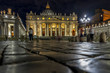 Vatican City,Italy - 23 June 2018: St.Peters Basilica is illuminated with lights at night in Vatican city in the square with moonlight at night