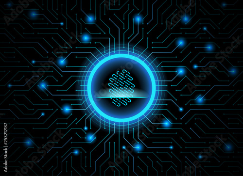 Cyber Security Fingerprint Dark Blue Abstract Digital