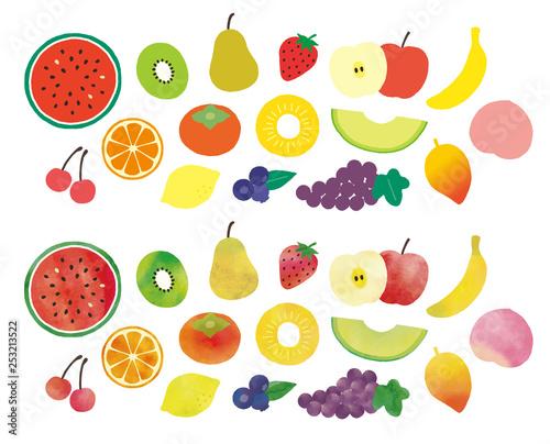 フルーツベタ塗りと水彩