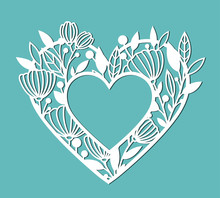 Frame In The Form Of A Heart With Flowers. Vector Template For Design, Print, Etc. The Image Is Suitable For Laser Cutting, Plotter Cutting Or Printing.