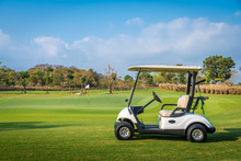 Golf Cart Park On Green Grass ...