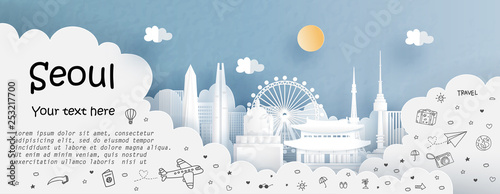 Tour and travel advertising template with travel to Seoul, South Korea with famo Wallpaper Mural
