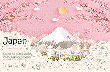Tour And Travel Advertising, Postcard, Panorama Poster Of World Famous Landmark Of Japan In Paper Cut Style Vector Illustration.