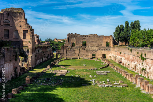 Vászonkép  The ancient ruins of Hippodrome Of Domitian at the Roman Forum, Palatine hill in Rome