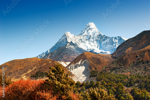 Beautiful view of Mount Ama Dablam in autumn Himalayas Wallpaper Mural