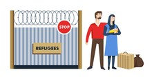 Refugees Immigration Camp Man And Woman With Child Near Fence