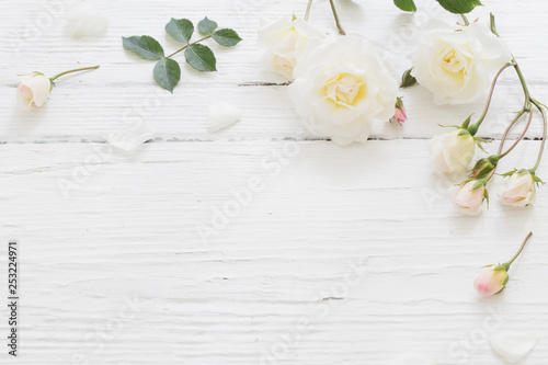 Printed kitchen splashbacks Floral roses on white wooden background