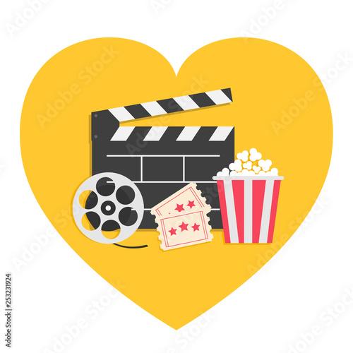 Vászonkép Movie reel Open clapper board Popcorn box package