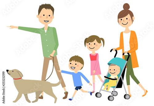 ファミリー 二世代家族 散歩 Fototapeta