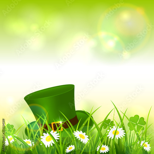 Patrick Day Green Nature Background with Leprechaun Hat