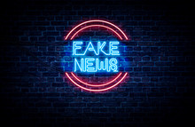 A Neon Sign In Blue And Red Light On A Brick Wall Background That Reads: FAKE NEWS