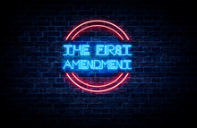 A Neon Sign In Blue And Red Light On A Brick Wall Background That Reads: THE FIRST AMENDMENT