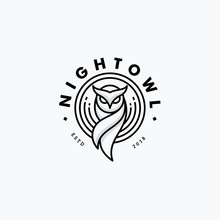 Nigh Owl Line Art Design Conce...
