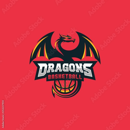 Fotografie, Obraz  Dragon Basketball Design concept Illustration Vector Template