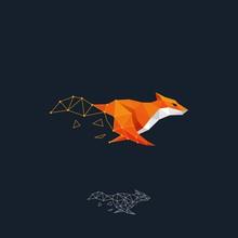 Running Fox Color Design Concept Illustration Vector Template