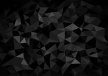 Black Crystalline Polygonal Background - Abstract Dark Mosaic Illustration, Vector