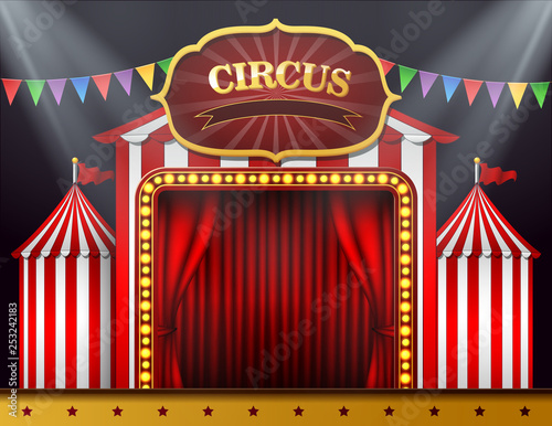 Foto  The circus entrance with a red curtain closed