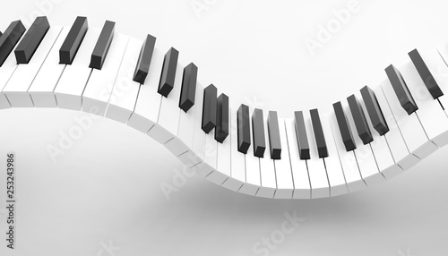 Fotografie, Obraz  Piano keyboard Musical Art Concept  and isolated on white background - 3d render