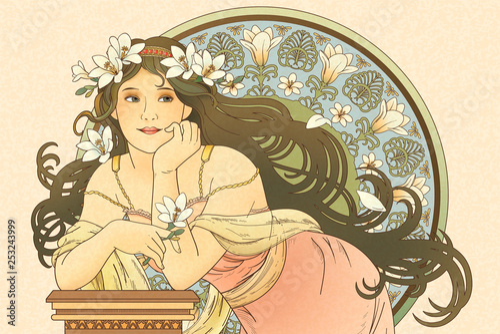 Obraz na plátně Mucha style goddess