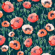 Gouache Seamless Pattern With Red Anemones In A Dark Green Background. Clipart For Art Work And Weddind Design.