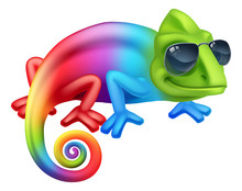 A Cool Chameleon Lizard Cartoon Character In Shades Or Sunglasses