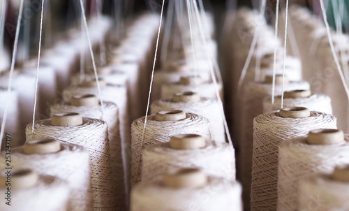 Obraz Row of textile threads industry . - fototapety do salonu