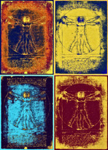 Vitruvian Man Of Leonardo Da Vinci In Pop Art Style