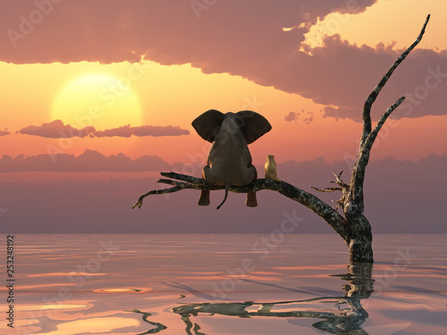 Photo  an elephant and a dog are sitting on a tree fleeing a flood