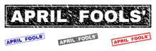 Grunge APRIL FOOLS' Rectangle Stamp Seals Isolated On A White Background. Rectangular Seals With Grunge Texture In Red, Blue, Black And Gray Colors.