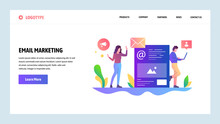 Vector Web Site Design Template. Digital And Email Marketing. Advertisement And Spam. Landing Page Concepts For Website And Mobile Development. Modern Flat Illustration.
