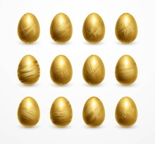 Happy Easter Realistic Golden Shine Decorated Eggs Set. Vector Illustration EPS10