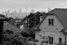 Sydney City Skyline A Cold Rainy Day New South Wales Australia